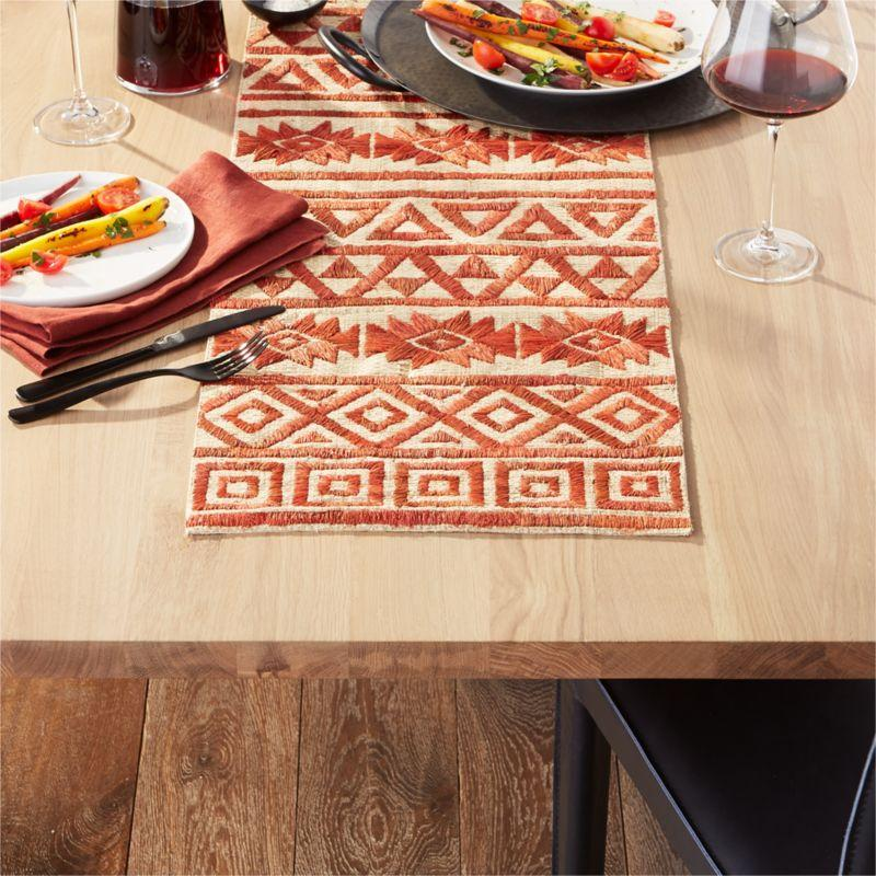 """<p><strong>crate and barrel</strong></p><p>crateandbarrel.com</p><p><strong>$99.95</strong></p><p><a href=""""https://go.redirectingat.com?id=74968X1596630&url=https%3A%2F%2Fwww.crateandbarrel.com%2Fbruna-45-centerpiece-table-runner%2Fs300065&sref=http%3A%2F%2Fwww.housebeautiful.com%2Fentertaining%2Fholidays-celebrations%2Fg11%2Fthanksgiving-table-setting-ideas-1011%2F"""" target=""""_blank"""">BUY NOW</a></p><p>Even if you hate <a href=""""https://www.housebeautiful.com/entertaining/holidays-celebrations/g22700349/thanksgiving-tablecloth-ideas/"""" target=""""_blank"""">tablecloths</a>, you can still give your tablescape a good foundation with a table runner, like this dyed, hand-woven sisal option. </p>"""
