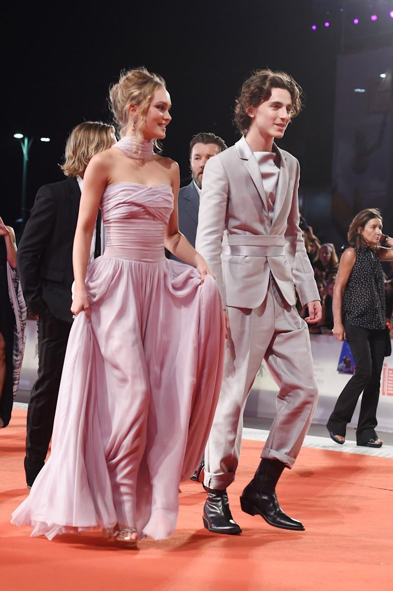 VENICE, ITALY - SEPTEMBER 02: Lily-Rose Depp and Timothee Chalamet attend