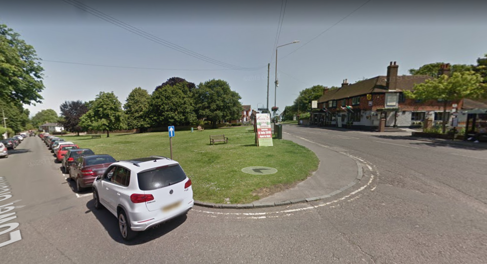 Christmas lights in Pembury, Kent, have been restricted to garlands on the village green (Picture: Google Maps)
