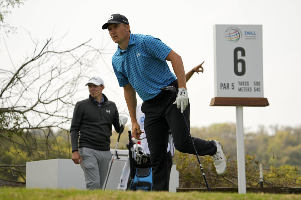 Jordan Spieth watches his tee shot on the sixth hole during a first round match at the Dell Technologies Match Play Championship golf tournament Wednesday, March 24, 2021, in Austin, Texas. (AP Photo/David J. Phillip)