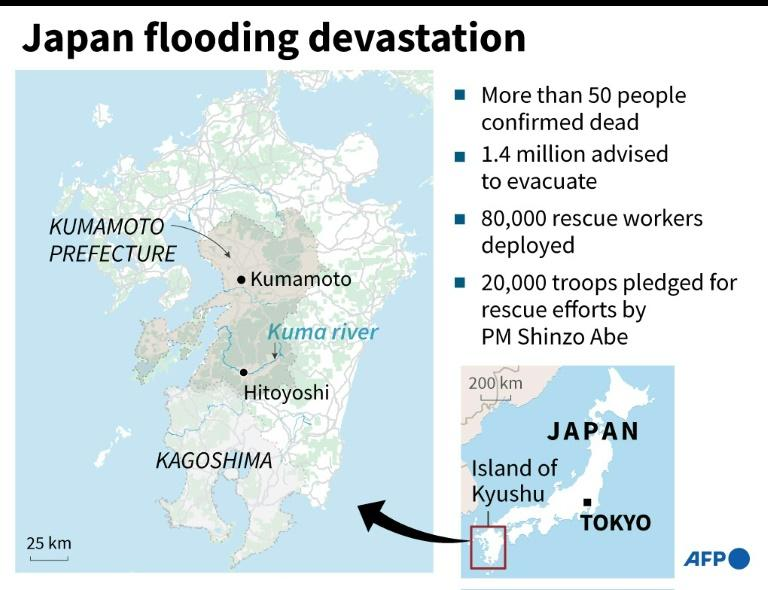 The flooding has mainly hit the island of Kyushu in Japan's south west