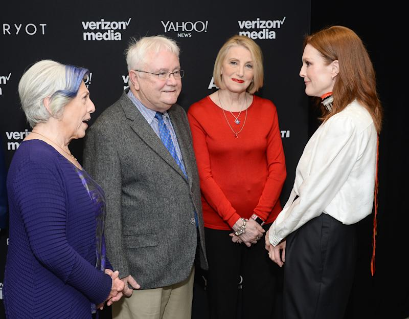 "NEW YORK, NEW YORK - APRIL 30: Actor / producer / Activist Julianne Moore appears with the nurses and caregivers of the upcoming documentary ""5B"" at the 2019 Verizon Media NewFront on April 30, 2019 in New York City. The film will be released theatrically June 2019. (Photo by Noam Galai/Getty Images for Verizon Media)"