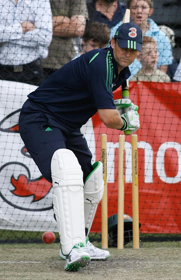 Australia's Adam Gilchrist hits a stroke in the nets during a training session at Adelaide Oval tadium in Adelaide, 23 January 2008.  India defeated Australia by 72 runs on the fourth day of the third Test in Perth to keep the series alive. India now trail 1-2 in the four-match series, with the final Test to be played in Adelaide from 24 January.  RESTRICTED TO EDITORIAL USE PUSH TO MOBILE SERVICES OUT AFP PHOTO / Prakash SINGH (Photo credit should read PRAKASH SINGH/AFP/Getty Images)