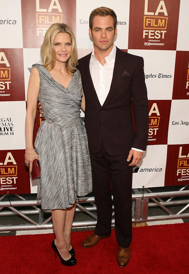 LOS ANGELES, CA - JUNE 15:  Actors Michelle Pfeiffer and Chris Pine attend the 2012 Los Angeles Film Festival Premiere of 'People Like Us' at Regal Cinemas L.A. LIVE Stadium 14 on June 15, 2012 in Los Angeles, California.  (Photo by Jesse Grant/Getty Images)