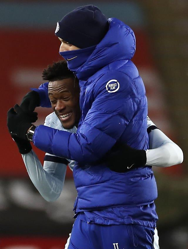 Thomas Tuchel, right, has converted Callum Hudson-Odoi into a wing-back