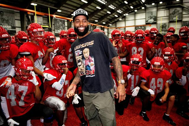 All smiles: Odell Beckham Jr. surprised the Chaney High football team when it visited the Browns' facility on Tuesday. (Browns/Twitter)
