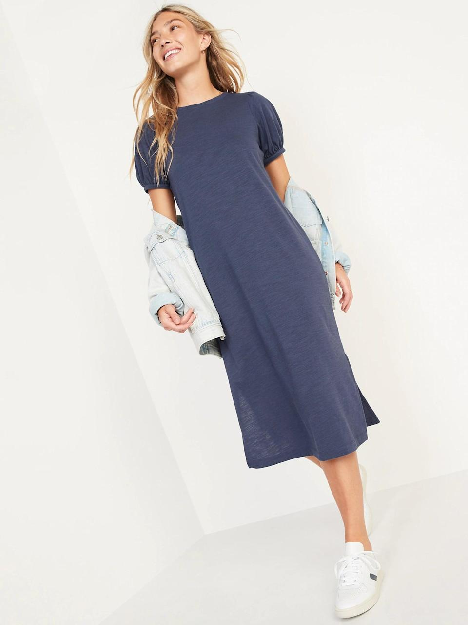 <p>The arms on this style stand out, whether you opt for a <span>Old Navy Puff-Sleeve Midi T-Shirt Shift Dress</span> ($40) in blue, brown, or black, or pick the oatmeal <span>Old Navy Puff-Sleeve Midi T-Shirt Shift Dress</span> ($40) instead.</p>