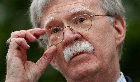 U.S. national security adviser John Bolton speaks to reporters at the White House in Washington, May 1, 2019. REUTERS/Kevin Lamarque