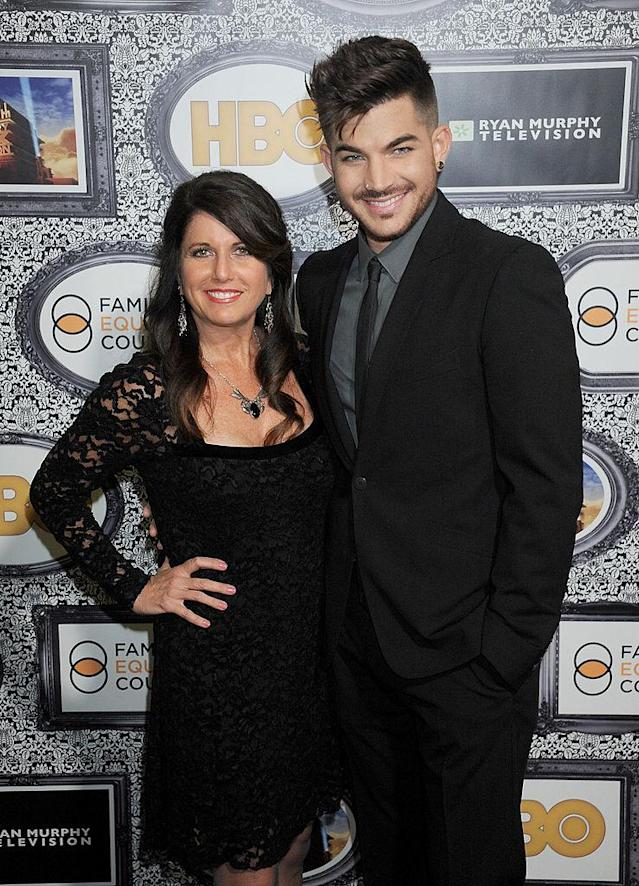 <p>Adam Lambert and mom Leila Lambert arrive at the Family Equality Council's Annual Los Angeles Awards Dinner at The Globe Theatre on February 8, 2014 in Universal City, California. </p>