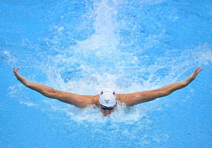 <p>Chase Kalisz of Team USA competes in a heat of the men's 200m individual medley swimming event on July 28.</p>