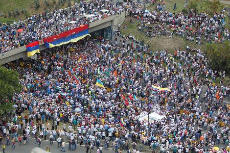 A general view shows an opposition rally in Caracas, Venezuela April 6, 2017. REUTERS/Christian Veron