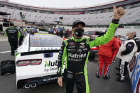 Ross Chastain is introduced to the crowd before the NASCAR Xfinity Series auto race Friday, Sept. 18, 2020, in Bristol, Tenn. (AP Photo/Steve Helber)