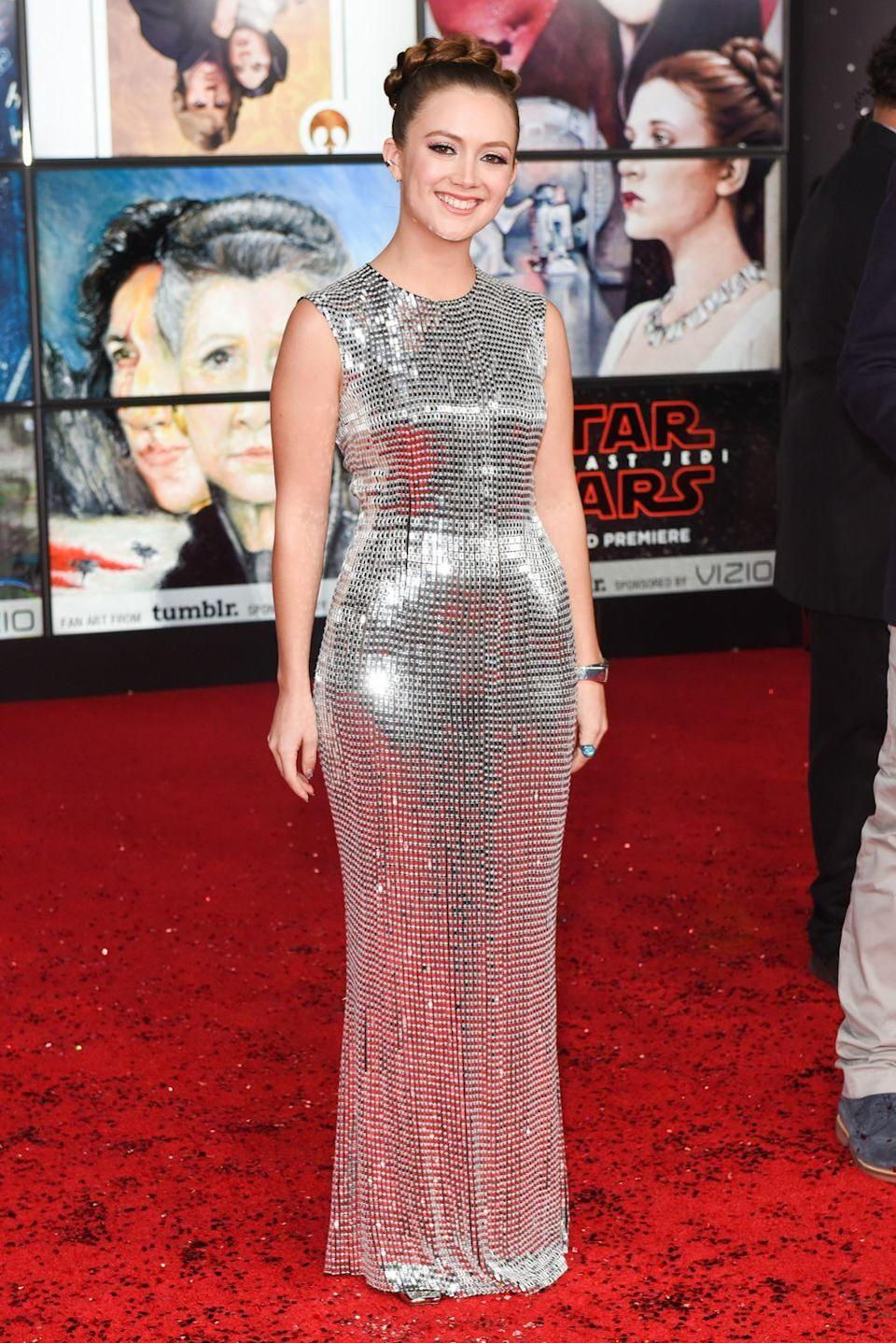 <p>Carrie's daughter, Billie Lourd, has followed in her mother's footsteps by embarking on a career in acting. Here, Billie attends the premiere of her mother's last <em>Star Wars </em>film. </p>