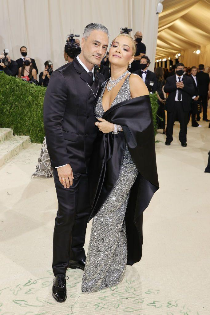 <p>The couple made their red carpet debut with Ora in a bedazzled Prada outfit. </p>