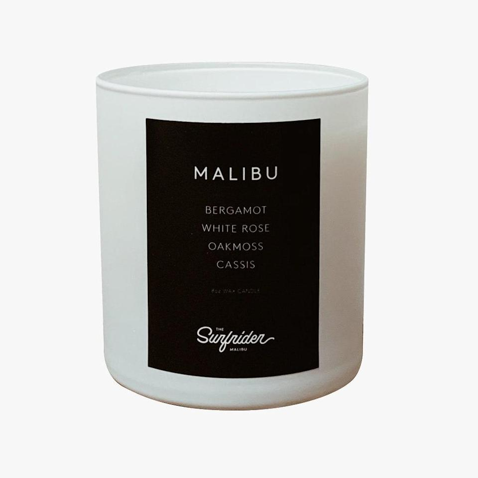 """Malibu's Surfrider hotel candles hope to remind guests of their stay. They're made in California and a proceed of sales go to Frontline Foods. $50, SURFRIDER MALIBU SHOP. <a href=""""https://www.thesurfridermalibushop.com/product/malibu-candle/414?cs=true"""" rel=""""nofollow noopener"""" target=""""_blank"""" data-ylk=""""slk:Get it now!"""" class=""""link rapid-noclick-resp"""">Get it now!</a>"""