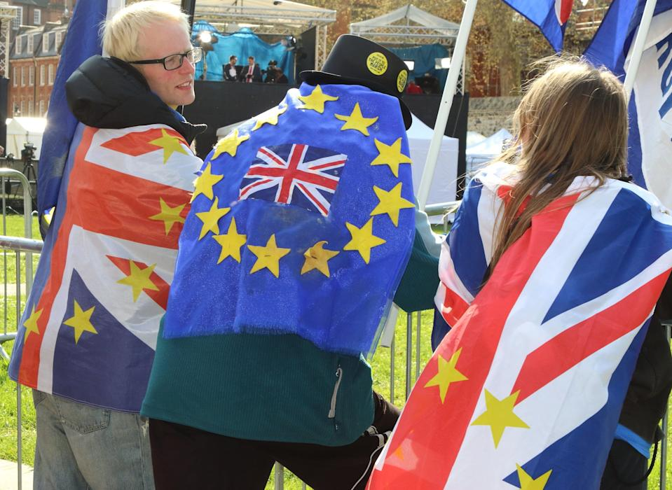 Anti-Brexit protesters seen wrapped in flags outside the Houses of Parliament (Picture: PA)