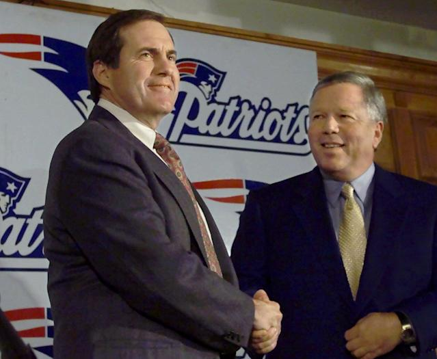 Memories: On Jan. 27, 2000, Bill Belichick, left, was introduced as the new head coach of the New England Patriots by team owner Robert Kraft, right. (AP/Steven Senne)
