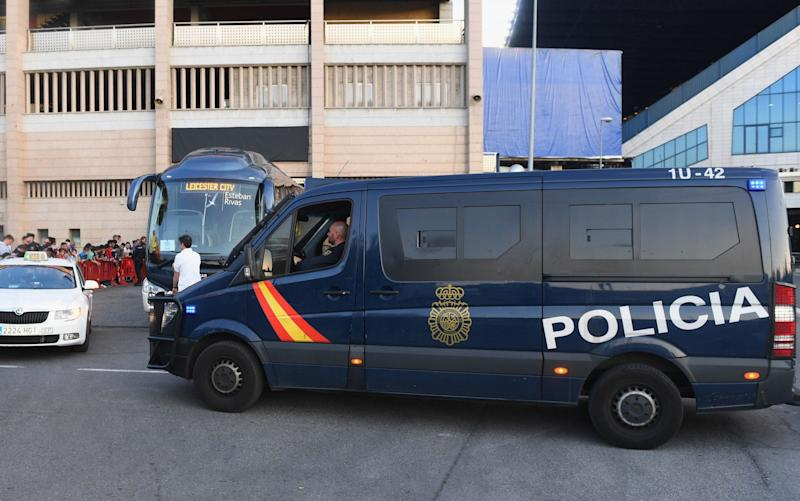 Security measures are seen next alongside the Leicester City team coach during a Leicester City training session and press conference on the eve of their UEFA Championns League quarter final match against Atletico Madrid - Getty Images Europe