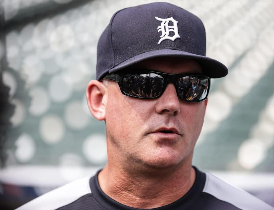 Tigers manager AJ Hinch speaks to the media at Comerica Park on Monday, July 19, 2021.
