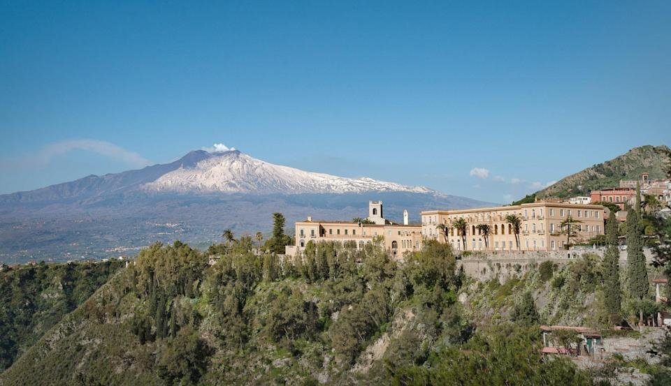 San Domenico Palace sits at the edge of Taormina with Mt. Etna as its dramatic backdrop.