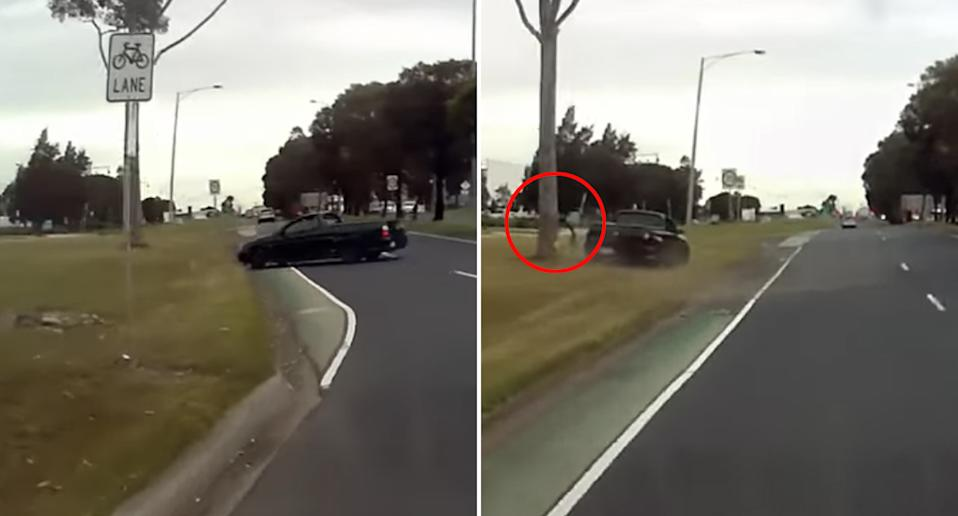 A ute skids off Sharps Road at Melbourne Airport, hits a tree, loses its bumper and drives off.