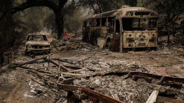 PHOTO: The remnants are seen after brush fire swept through residential neighborhoods on Maripoca Highway near Ojai, Calif., Dec. 8, 2017. (Marcus Yam/Los Angeles Times/Polaris)