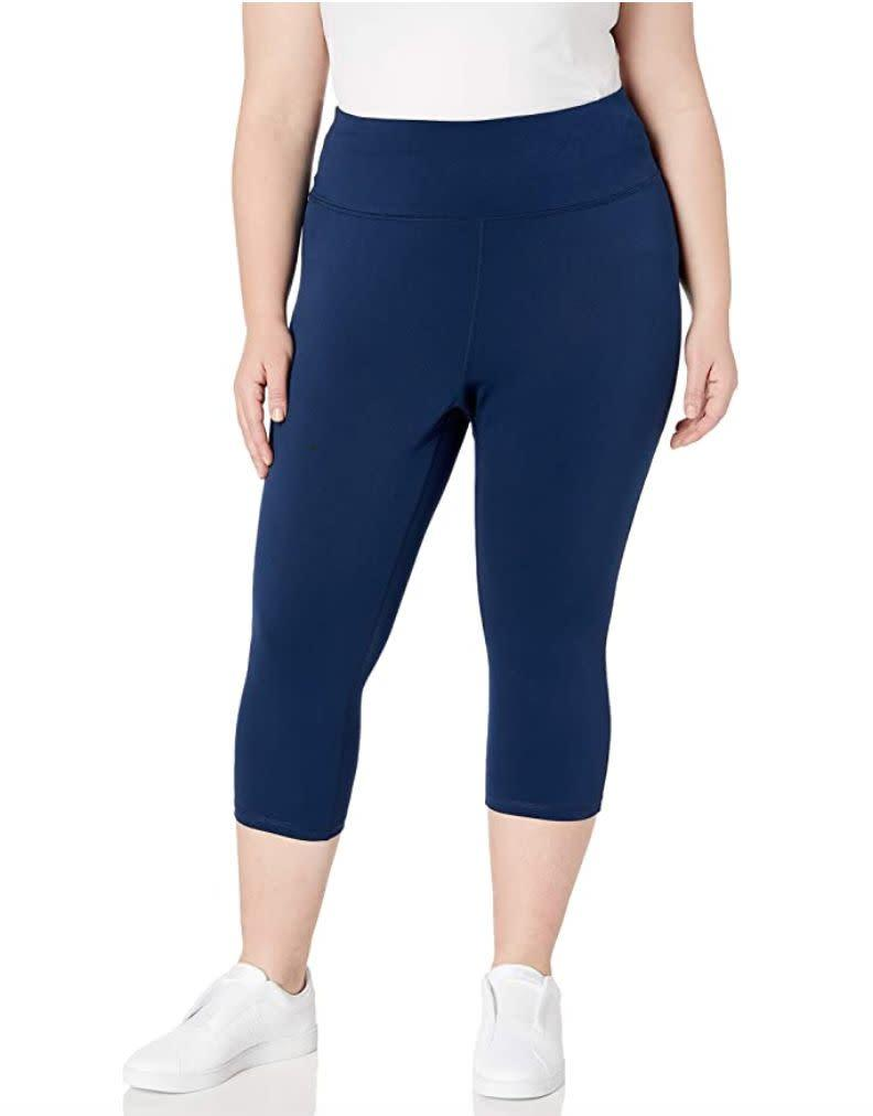 "You can just pull on <a href=""https://amzn.to/3gS7xgC"" rel=""nofollow noopener"" target=""_blank"" data-ylk=""slk:these leggings"" class=""link rapid-noclick-resp"">these leggings</a>, which are meant to be comfortable because of the stretchy waistband. These leggings come in navy, black and gray and are made mostly of polyester. It's recommended that you size down for a ""more compressive fit.""<br><br><strong>Sizes:</strong> These leggings come in sizes 1X to 6X. <br><strong>Rating: </strong>They have a 4.2-star rating over more than 100 reviews. <br><strong>$$$:</strong> <a href=""https://amzn.to/3kDjoBt"" rel=""nofollow noopener"" target=""_blank"" data-ylk=""slk:Find them for $22 at Amazon"" class=""link rapid-noclick-resp"">Find them for $22 at Amazon</a>."