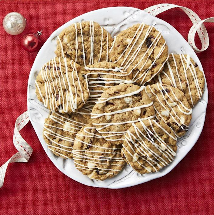 """<p>Is there anything more comforting than homemade oatmeal cookies? To make them even sweeter, drizzle them with melted white chocolate. </p><p><a href=""""https://www.thepioneerwoman.com/food-cooking/recipes/a34690868/oatmeal-cherry-slice-and-bake-cookies/"""" rel=""""nofollow noopener"""" target=""""_blank"""" data-ylk=""""slk:Get Ree's recipe."""" class=""""link rapid-noclick-resp""""><strong>Get Ree's recipe.</strong></a></p>"""