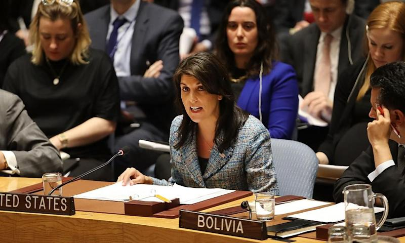 Nikki Haley speaks at a security council meeting on the the situation in Syria at the United Nations on 12 March.