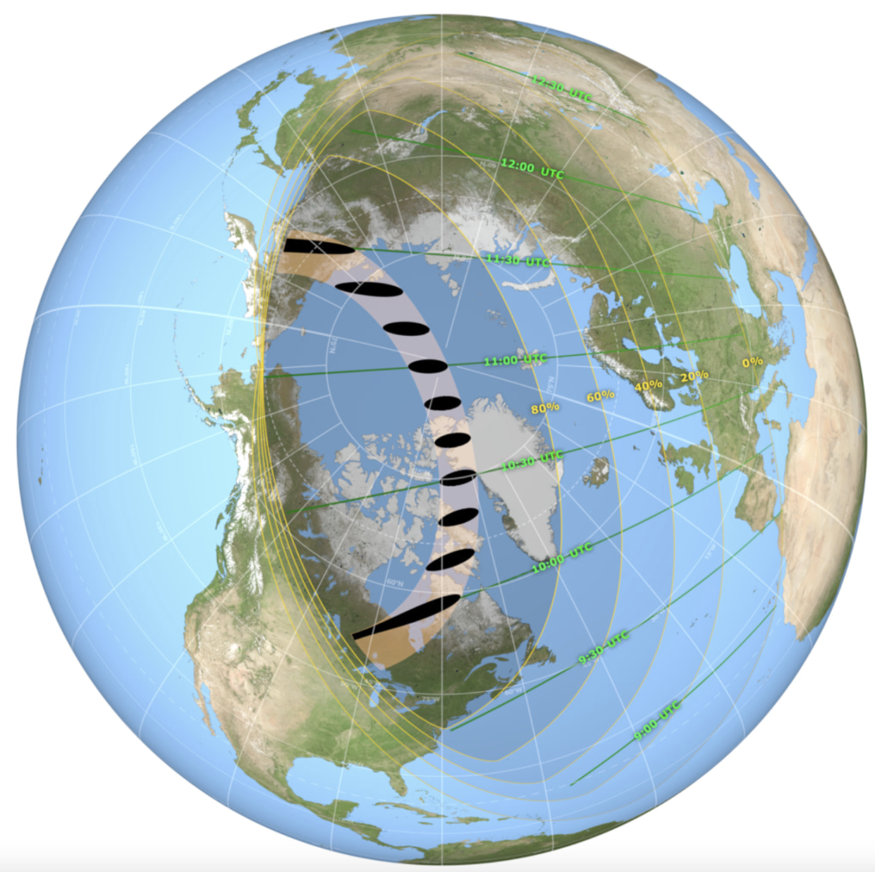 The map shows the global extent of the shadow during the eclipse. (Nasa)