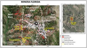 Minera Florida Location Map Showing Main Target Areas Discussed In Text, Geological Features, Principle Vein Systems, And Underground Workings.