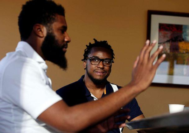 PHOTO: Rashon Nelson, left, and Donte Robinson are interviewed by The Associated Press in Philadelphia. (Jacqueline Larma/AP)