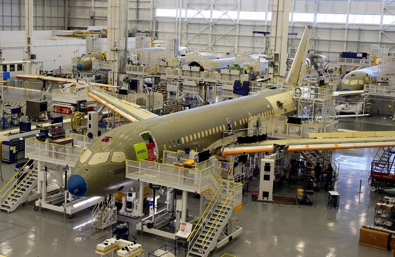 FILE PHOTO: Bombardier's C Series aircrafts are assembled in their plant in Mirabel, Quebec