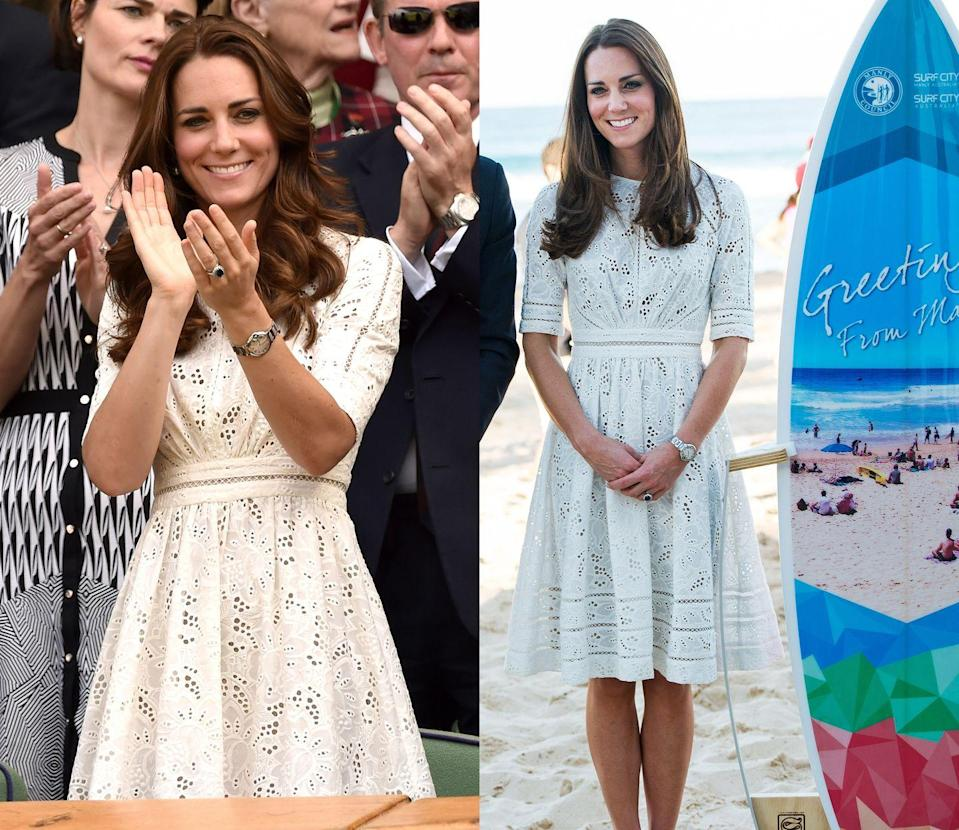 <p>This white lace Zimmermann A-line frock has made two appearances on Duchess Kate, first while visiting Australia in 2014 and then a few months later at Wimbledon that year. </p>