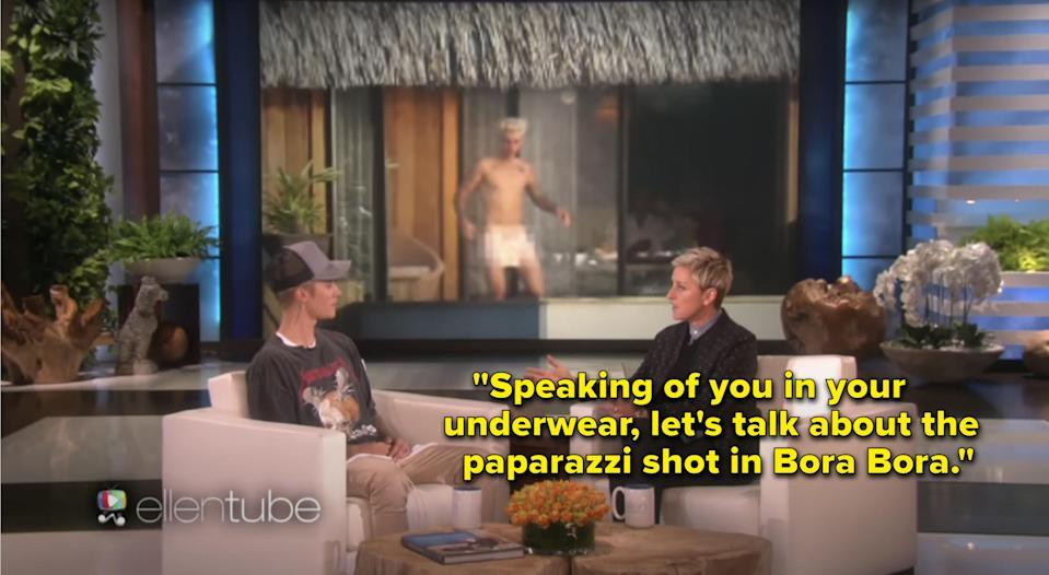 Ellen displaying Justin's nude paparazzi photos and asking him about it.
