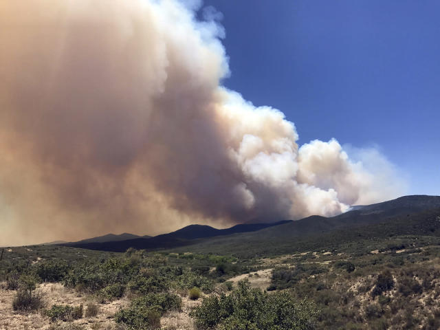 <p>Smoke billows from a wildfire locally called Goodwin Fire, near Prescott, Ariz., June 27, 2017. More than 500 firefighters braced for windy conditions Tuesday as they continued to battle the northern Arizona wildfire that has burned 6.8 square miles (17.6 sq. kilometers) so far. (Les Stukenberg/The Daily Courier via AP) </p>