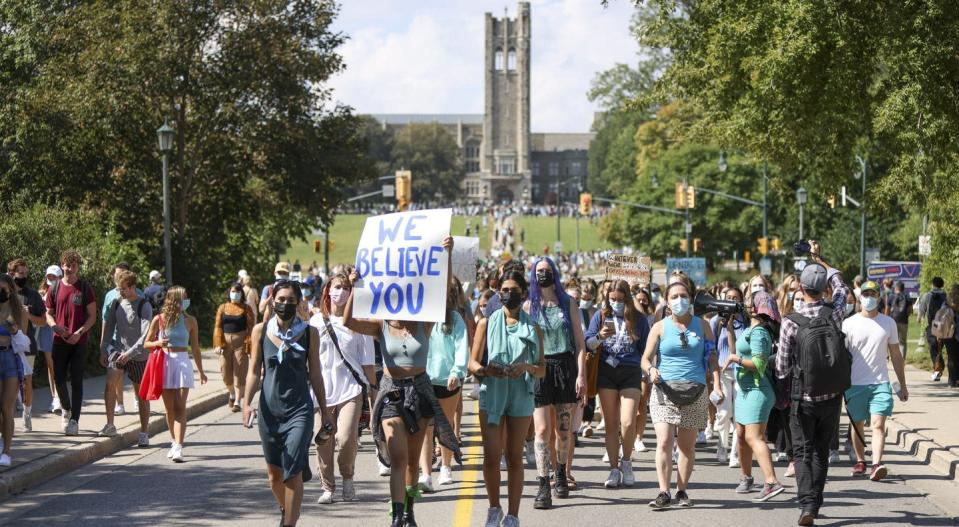 """<span class=""""caption"""">Western University students march during a walkout in support of sexual assault survivors, in London, Ont., on Sept. 17.</span> <span class=""""attribution""""><span class=""""source"""">THE CANADIAN PRESS/Nicole Osborne </span></span>"""