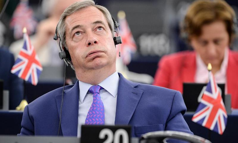 Nigel Farage during speeches at the European parliament in Strasbourg.