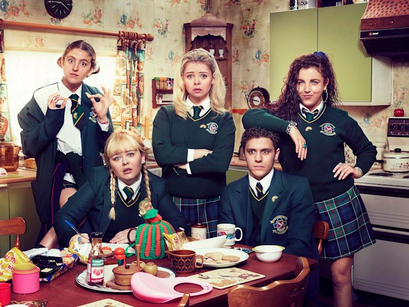 L-R: Orla (Louise Harland), Clare (Nicola Coughlan), Erin (Saoirse-Monica Jackson), James (Dylan Llewellyn) and Michelle (Jamie-Lee O'Donnell) (Photo: Channel 4)