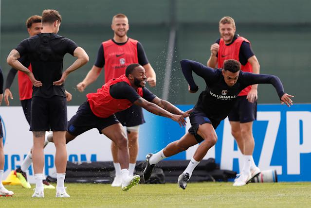 Soccer Football - World Cup - England Training - England Training Camp, Saint Petersburg, Russia - June 17, 2018 England's Raheem Sterling, Trent Alexander-Arnold and team mates during training REUTERS/Lee Smith