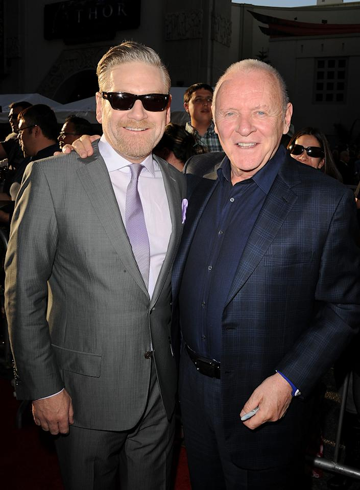 """<a href=""""http://movies.yahoo.com/movie/contributor/1800019957"""">Kenneth Branagh</a> and <a href=""""http://movies.yahoo.com/movie/contributor/1800011674"""">Anthony Hopkins</a> attend the Los Angeles premiere of <a href=""""http://movies.yahoo.com/movie/1810026342/info"""">Thor</a> on May 2, 2011."""