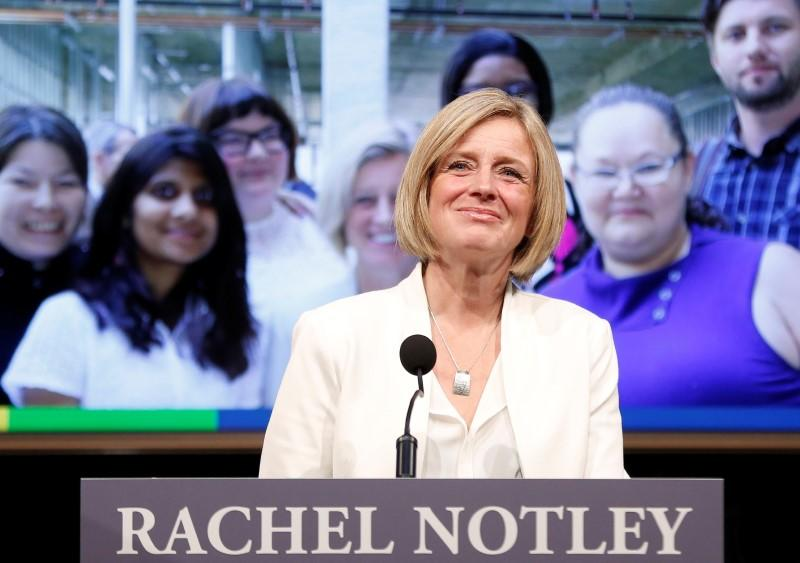 Alberta Premier Notley addresses supporters during her annual state of the province address in Calgary.