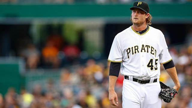 "<a class=""link rapid-noclick-resp"" href=""/mlb/players/9121/"" data-ylk=""slk:Gerrit Cole"">Gerrit Cole</a> is one of the high-end starters the <a class=""link rapid-noclick-resp"" href=""/mlb/teams/hou/"" data-ylk=""slk:Houston Astros"">Houston Astros</a> are reportedly looking at. (AP)"