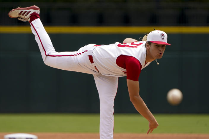 North Carolina State pitcher Matt Willadsen throws against Duke in the first inning of an NCAA college baseball game at the Atlantic Coast Conference championship game on Sunday, May 30, 2021, in Charlotte, N.C. (AP Photo/Chris Carlson)