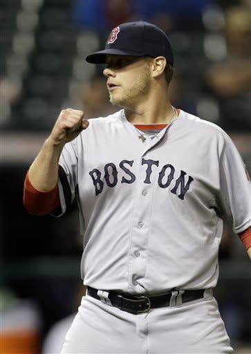Boston Red Sox relief pitcher Andrew Bailey pumps his fist after the final out in a 6-3 win over the Cleveland Indians in a baseball game on Thursday, April 18, 2013, in Cleveland. Bailey got the save and Boston swept the three-game series. (AP Photo/Mark Duncan)