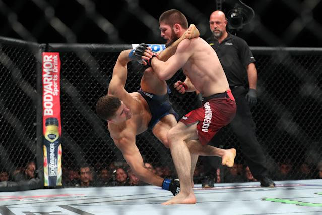<p>Ferguson vs. Nurmagomedov was put on the schedule an astonishing fifth time, this time as the main event of UFC 223 in Brooklyn. The full championship was on the line, as McGregor had been stripped of the belt due to inactivity. Ferguson, however, tripped over a production cable on the Fox lot during a media tour of Los Angeles and suffered a torn LCL. Featherweight champion Max Holloway stepped in on six days' notice, only to be pulled from the bout by UFC doctors during his weight cut. Nurmagomedov ultimately fought Al Iaquinta and scored a dominated five-round win to claim the title and improve to 28-0. </p>