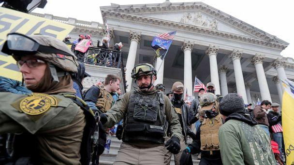 PHOTO: Rioters march down the steps of the Capitol protesting against the certification of the 2020 presidential election results by the U.S. Congress, in Washington, Jan. 6, 2021. (Jim Bourg/Reuters, FILE)