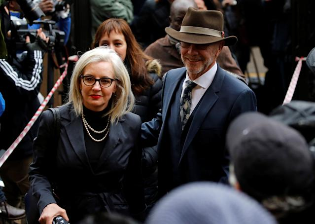 Former Paralympian Oscar Pistoriu's uncle Arnold (R) and his wife Lois Pistorius arrive for the sentencing of Pistorius at the Pretoria High Court, South Africa June 13,2016. REUTERS/Siphiwe Sibeko