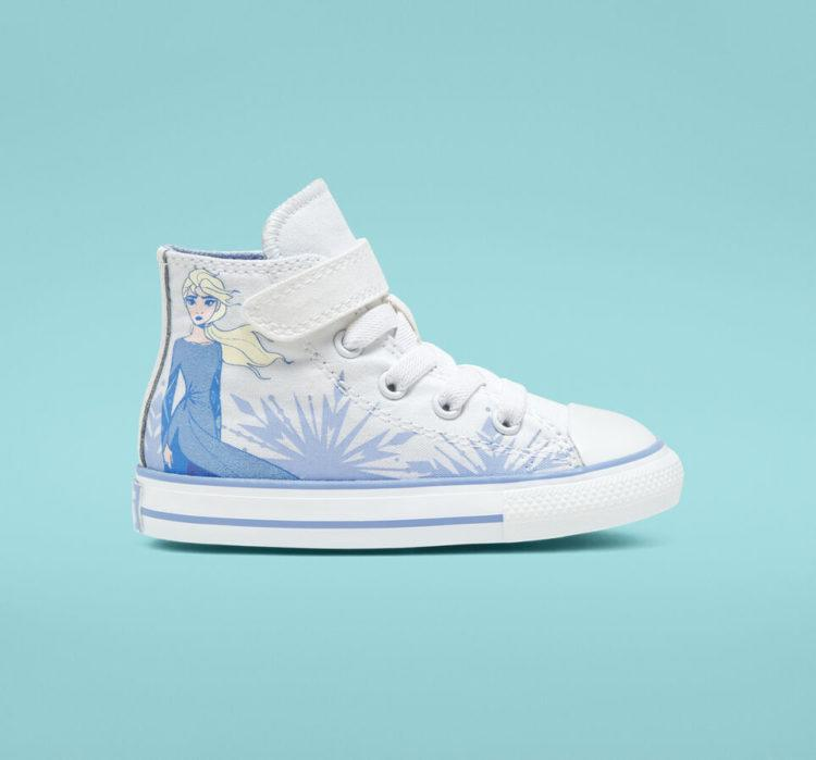 Converse x Frozen 2 Chuck Taylor All Star white shoes with Queen Elsa on it