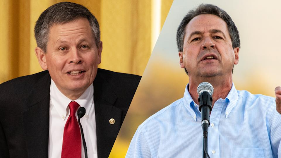 Senator Steve Daines (R - MT)/Montana democratic Governor Steve Bullock (Cheriss May/NurPhoto via Getty Images; William Campbell/Getty Images)
